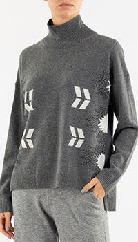 Серый свитер Repeat Cashmere с узором, фото