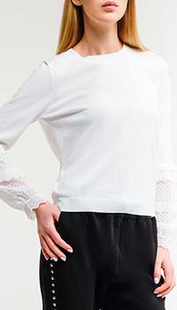 Белый джемпер Twin-Set с кружевом, фото
