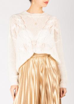 Белый свитер Twin-Set с узором-косами, фото