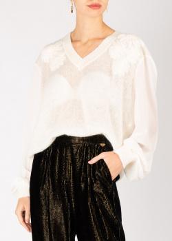 Пуловер белого цвета Twin-Set с пышными рукавами, фото