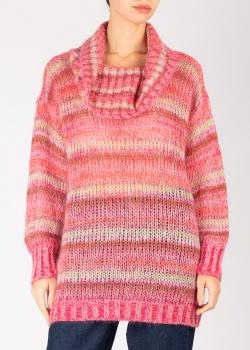 Розовый свитер Twin-Set с широким воротом, фото