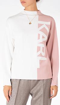Свитер Karl Lagerfeld бело-розового цвета с принтом, фото