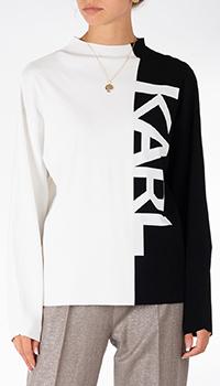 Черно-белый свитер Karl Lagerfeld с надписью, фото