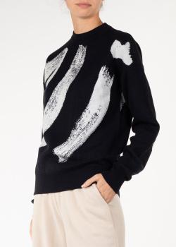 Черный шерстяной свитер Nina Ricci с объемным лого, фото