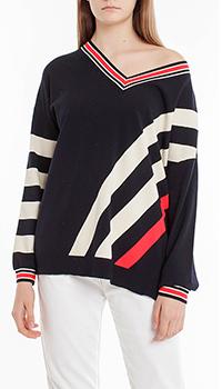 Темно-синий пуловер Laurel с цветными полосами, фото