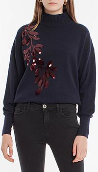 Темно-синий свитер Laurel с декором из пайеток, фото