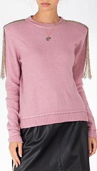 Розовый свитер Patrizia Pepe с декором на плечах, фото