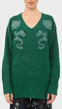 Длинный пуловер Kenzo с вышивкой из альпаки, фото