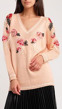 Персиковый пуловер Twin-Set с декором-перьями, фото