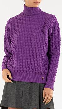 Фиолетовый свитер Pinko с объемным узором, фото
