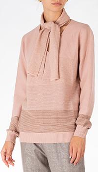 Розовый пуловер D.Exterior с шарфом из кашемира, фото