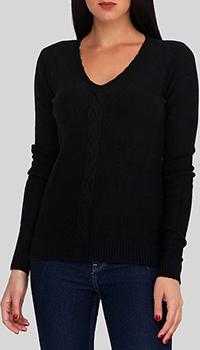 Черный джемпер Cashmere Company с плетеным узором, фото