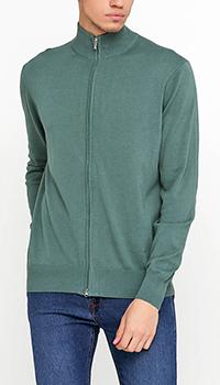 Зеленая кофта Cashmere Company на молнии, фото