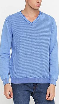 Хлопковый пуловер Cashmere Company голубого цвета, фото