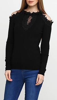 Черный джемпер Cashmere Company с открытыми плечами, фото