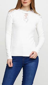 Джемпер белого цвета Cashmere Company с цветочным ажуром, фото