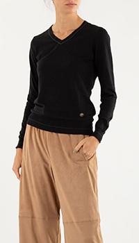 Черный пуловер Roberto Cavalli из шерсти и кашемира, фото