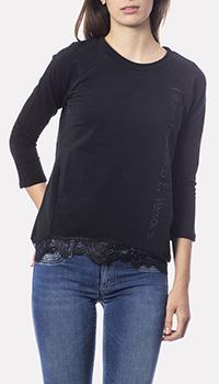 Черный джемпер Francesca E.Versace с кружевным низом, фото