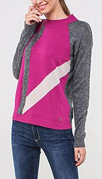 Серо-розовый свитер Trussardi Jeans с бежевой полоской, фото