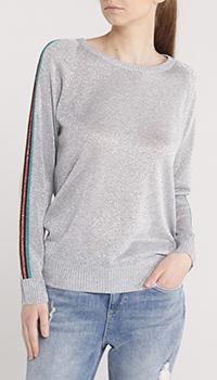 Серый джемпер Trussardi Jeans с полосками на рукаве, фото