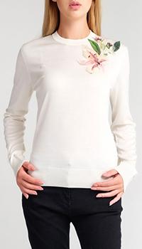 Белый джемпер Dolce&Gabbana с цветочной аппликацией, фото