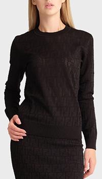 Черный джемпер Fendi с брендовым тиснением, фото