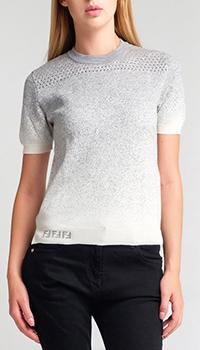 Серый джемпер Fendi с разрезами по бокам, фото
