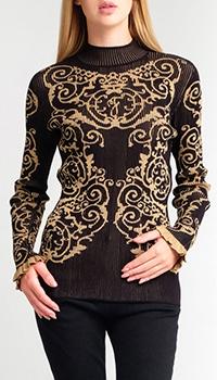 Черный свитер Fendi с ребристой отделкой, фото