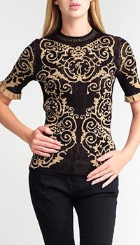 Черный джемпер Fendi с рюшами на рукаве, фото