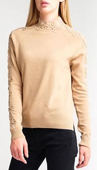 Бежевый кашемировый свитер Fendi с лампасами, фото