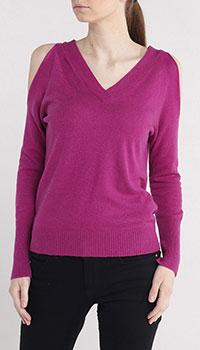 Малиновый пуловер Liu jo с открытыми плечами, фото
