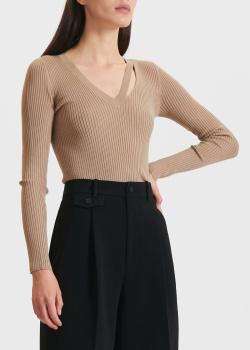 Бежевый пуловер Miss Sixty с разрезом, фото