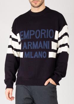 Черный свитер Emporio Armani с жаккардовым логотипом, фото