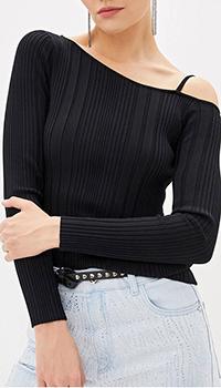 Черный джемпер Patrizia Pepe с открытым плечом, фото