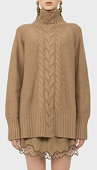 Вязаный свитер MaxMara с воротником стойкой из кашемира, фото