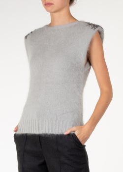 Серый жилет Alberta Ferretti с вышивкой бисером, фото