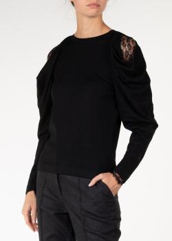 Черный джемпер Alberta Ferretti с кружевными вставками, фото