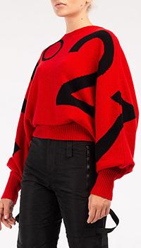 Красный свитер N21 с пышными рукавами, фото