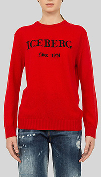 Джемпер с принтом Iceberg красного цвета, фото