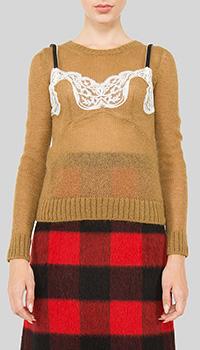 Джемпер с кружевом N21 коричневого цвета, фото