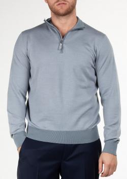 Серый свитер Doriani Cashmere с контрастными деталями, фото