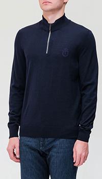 Синий свитер Billionaire с вышитым логотипом, фото