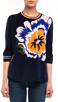 Темно-синий пуловер Bogner Sara с изображением цветка, фото