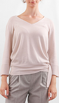 Бежевый пуловер Fabiana Filippi с укороченным рукавом, фото