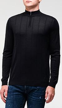 Черный свитер Emporio Armani с воротником-стойкой, фото