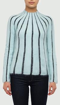Голубой свитер Emporio Armani с вертикальными полосами, фото