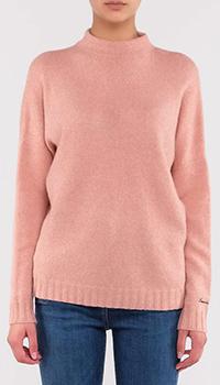 Розовый свитер Emporio Armani с логотипом на рукаве, фото