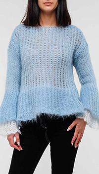 Голубой свитер Emporio Armani крупной вязки, фото