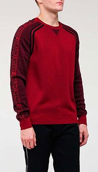 Бордовый мужской свитер Emporio Armani с надписями, фото