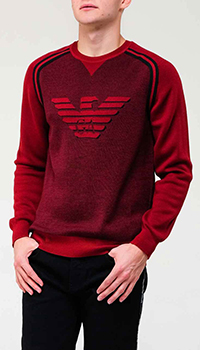 Бордовый свитер Emporio Armani с орлом, фото